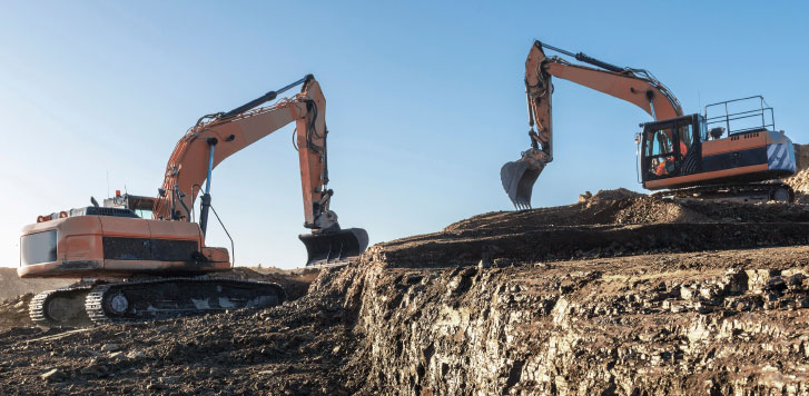 Excavators on site