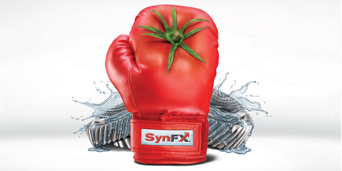 Red boxing glove with machine part